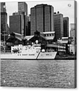 Us Coastguard Cutter Vessel Ship Berthed In Lower Manhattan On The East River New York City Acrylic Print