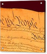 Us Constitution Closest Closeup Red Brown Background Larger Sizes Acrylic Print