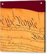 Us Constitution Closest Closeup Violet Red Background Acrylic Print