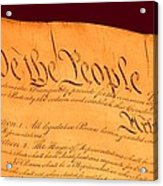Us Constitution Closeup Red Brown Background Acrylic Print by L Brown