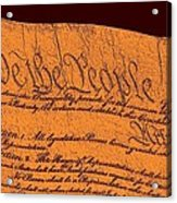 Us Constitution Closeup Sculpture Brown Background Acrylic Print by L Brown