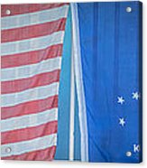 Us Flag And Conch Republic Flag Key West  - Panoramic - Hdr Style Acrylic Print by Ian Monk
