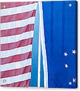 Us Flag And Conch Republic Flag Key West  - Panoramic Acrylic Print by Ian Monk