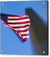 Us Flag At Washington Monument At Dusk Acrylic Print