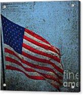 Us Flag -blue Antiqued Acrylic Print