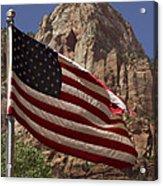U.s. Flag In Zion National Park Acrylic Print
