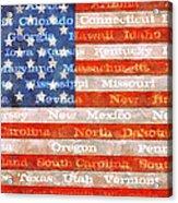 Us Flag With States Acrylic Print
