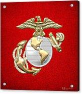 U. S. Marine Corps Eagle Globe And Anchor - E G A On Red Leather Acrylic Print