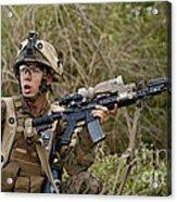 U.s. Marine Corps Machine Gunner Acrylic Print