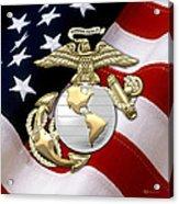U. S. Marine Corps - U S M C Eagle Globe And Anchor Over American Flag. Acrylic Print