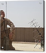 U.s. Marine Looks Up To The Sky While Acrylic Print