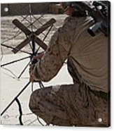U.s. Marine Repositions A Satellite Acrylic Print by Stocktrek Images