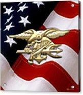 U. S. Navy S E A Ls Emblem Over American Flag Acrylic Print