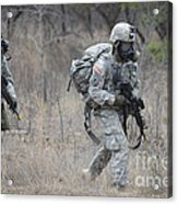 U.s. Soldiers Don Chemical Warfare Gear Acrylic Print
