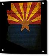 Usa American Arizona State Map Outline With Grunge Effect Flag A Acrylic Print
