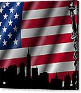 Usa American Flag With Statue Of Liberty Skyline Silhouette Acrylic Print