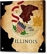 Usa American Illinois State Map Outline With Grunge Effect Flag Acrylic Print