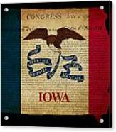 Usa American Iowa State Map Outline With Grunge Effect Flag And  Acrylic Print
