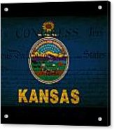Usa American Kansas State Map Outline With Grunge Effect Flag An Acrylic Print