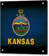 Usa American Kansas State Map Outline With Grunge Effect Flag Acrylic Print