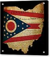 Usa American Ohio State Map Outline With Grunge Effect Flag Inse Acrylic Print