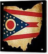 Usa American Ohio State Map Outline With Grunge Effect Flag Acrylic Print