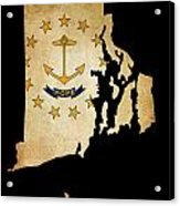 Usa American Rhode Island State Map Outline With Grunge Effect F Acrylic Print