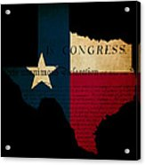 Usa American Texas State Map Outline With Grunge Effect Flag Ins Acrylic Print by Matthew Gibson