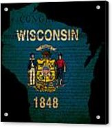 Usa American Wisconsin State Map Outline With Grunge Effect Flag Acrylic Print