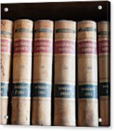 Usa, Nevada Old Law Books In Library Acrylic Print