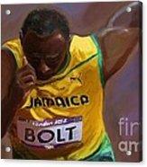 Usain Bolt 2012 Olympics Acrylic Print by Vannetta Ferguson