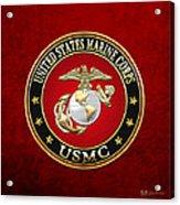 U S M C Eagle Globe And Anchor - E G A On Red Velvet Acrylic Print