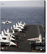 Uss Enterprise Conducts Flight Acrylic Print by Stocktrek Images