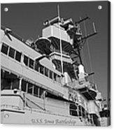 Uss Iowa Battleship Portside Bridge 01 Bw Acrylic Print