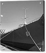 Uss Iowa Battleship Starboard Side Bw Acrylic Print