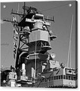 Uss Iowa Battleship Starboardside Bridge 02 Bw Acrylic Print