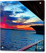 Uss Midway Sunset Acrylic Print