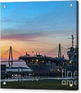 Uss Yorktown Sunset Acrylic Print