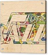 Utah Jazz Retro Poster Acrylic Print