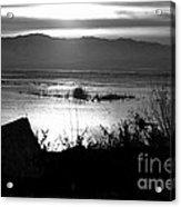Utah Lake Dusk 03 - Bw Acrylic Print