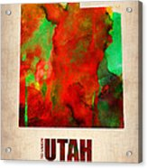 Utah Watercolor Map Acrylic Print by Naxart Studio