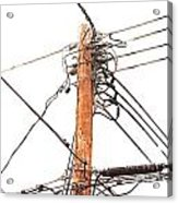 Utility Pole Hung With Electricity Power Cables Acrylic Print
