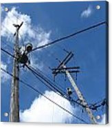 Utility Poles And Clouds 2 Acrylic Print