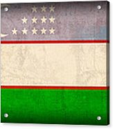 Uzbekistan Flag Vintage Distressed Finish Acrylic Print
