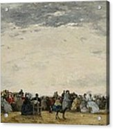 Vacationers On The Beach At Trouville Acrylic Print by Eugene Louis Boudin