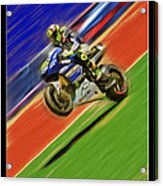 Valentino Rossi Wheely Down The Blue Red And Green Acrylic Print