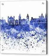 Valletta Skyline In Blue Watercolor On White Background Acrylic Print