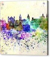 Valletta Skyline In Watercolor Background Acrylic Print