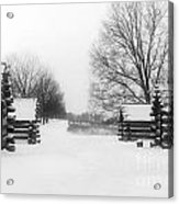 Valley Forge Cabins In Snow Acrylic Print