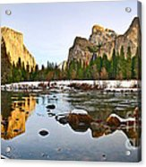Vally View Panorama - Yosemite Valley. Acrylic Print